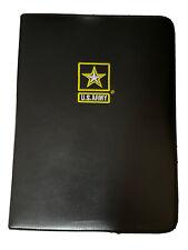 Us Army Folder Embroidered Faux Leather Portfolio Binder Pen Holder Us