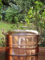 VICTORIAN 19th Century Antique COPPER STEAMER PAN