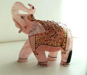 """3015 Cts Fine Artistic Work Elephant Statue Natural Rose Quartz Gold Paint 4.8"""""""