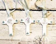 Precious Moments Ceramic Cross Ornaments Lot of 3 1992 Samuel Butcher