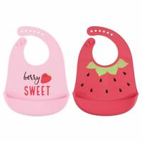 Hudson Baby Girl Silicone Bib with Pocket, 2 Pack, Strawberry