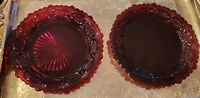 "Vintage Avon Ruby Red Cape Cod 1876 Glass 7 1/2 "" Dessert/Salad Plates, Set of 2"