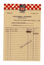 Vintage Illustrate Commercial Invoice / Guilleromo Kearney / Sj Puerto Rico 1944