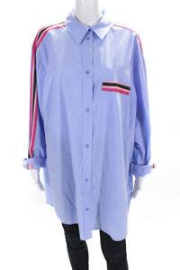 Escada Sport Womens Oversize Webbing Stripe Button Up Shirt Blue Pink Size EU 42