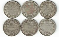 6 X CANADA TWENTY FIVE CENTS QUARTERS KING GEORGE V 800 SILVER COINS 1928 - 1933