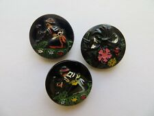 Vintage Sm Handpainted 'Flowers/People' Black Glass Craft Collectible Buttons
