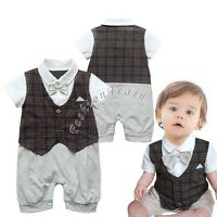 Infant Baby Boys Wedding Party Tuxedo Suits Bowtie Romper One-Piece Outfit 0-24M