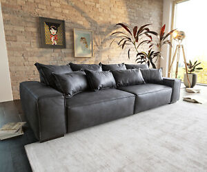 Bigsofa Sirpio XL Anthrazit 270x125 cm Kedernaht Vintage mit Kissen Big Sofa