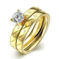 Damen Edelstahl Double Ring Gelb Gold verg Zirkonia AAA Rhodiniert 8,5 g