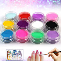 12 PCS Mix Colors Set Nail Art Acrylic Powder Dust Decoration  Nail Tips
