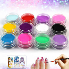 12 Mix Colors Glitter Acrylic Nail Art Tips UV Gel Powder Dust 3D Art Decoration