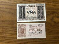 REGNO D' ITALIA LOTTO 2 BANCONOTE 1 LIRA IMPERO 1 LIRA LAUREATA