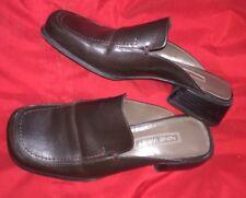 Nine West Drk Brown Leather Slide Loafers 1 1/2-inch Block Heel Sz 6 Pre-owned