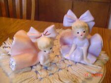 2 -Vintage Inarco 1963 Big Bow Bloomer Girl Figurines, Pink & Lavender