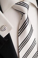 Schwarz//Weiss Kt 72.1 Luxus Seiden Herren Krawatte mit Einstecktuch