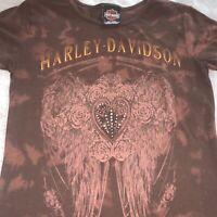 WOMENS HARLEY DAVIDSON MOTORCYCLES T-SHIRT BROWN GRAPHIC TEE SHIRT SIZE SMALL
