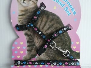 (H004) Cat Kitten Adjustable Harness & Lead Set Black with Coloured Star Flower