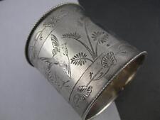 Fabulous Sterling NAPKIN RING by ALBERT COLES w/ Bird Butterflies Foliage c1800s