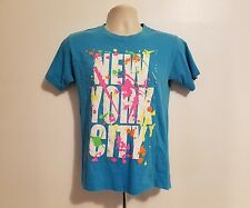 New York City Splashy Splatter Paint Adult Small Blue TShirt NYC Paint Tee