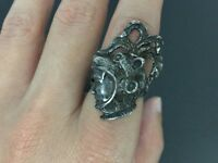 Vintage Sterling Silver Soldier Dimensional Cameo Ring Size 7.5
