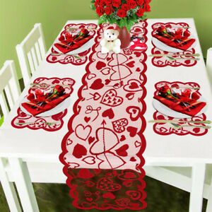 Table Runner Red Lace Tablecloth And Placemat Topper Fireplace Rectangle Table