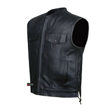 SOA Motorcycle Sons of Anarchy ARMOR Leather Open Collar Club Biker Vest