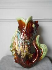 "French Large French Riviera Pottery MAJOLICA PITCHER 13"" H - FISH -"