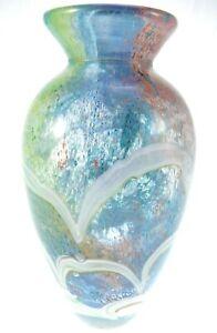 "Gorgeous Designs 9"" Hand Blown Glass Multicolored Vase Bubble Rainbow Pride"