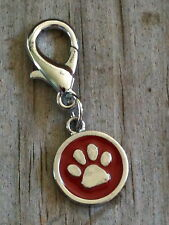 Red Paw Print Dog Cat Tiger Collar Charm / Zipper pull