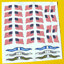 Slot Car Scalextric Scx 1/32nd Vintage Style USA American Flags Pegatinas Calcomanías