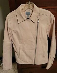 Athleta $498 leather Moto Salt Flat jacket Buttery Soft NWOT sea salt color