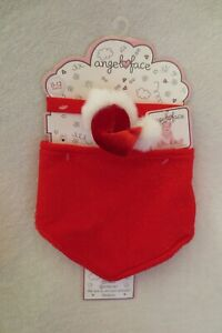 Baby Girl Angel Face Red Christmas Bib and HeadBand New 0-12 Months