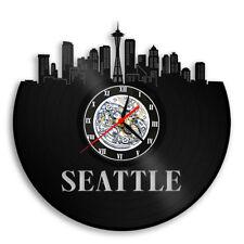 Seattle WA Vinyl Wall Clock City Skyline Travel Gift Vintage Vinyl Wall Art 12in