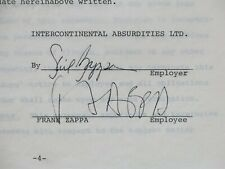 FRANK ZAPPA 1970 Signed INTERCONTINENTAL ABSURDITIES Employment Contract w/COA