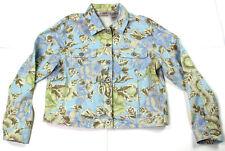Bill Blass Jeanswear Women's Floral Button Front Blouse Sz L Linen Cotton Blend