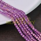 Hot 100pcs 4mm Cube Square Faceted Gold Foil Glass Loose Spacer Beads Fuchsia