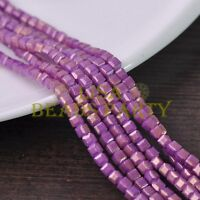 New 100pcs 4mm Cube Square Faceted Gold Foil Glass Loose Spacer Beads Fuchsia