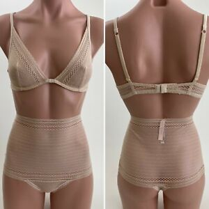NWT Victoria's Secret Incredible by VS Unlined Plunge Bra 34B Thong S  Beige Set