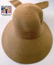 Women's Beach Sun Brim Hat Straw Floppy Elegant Bohemia Packable Crushable SPF50