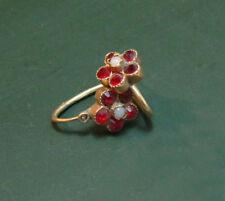 Antike Biedermeier 585er Blüten GOLD-OHRRINGE m. roten STEINEN u. Perle ~1880 •