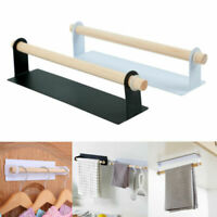 Wall Mounted Wooden Towel Roll Paper Rail Rack Holder For Bathroom Kitchen Shelf