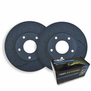 RDA DIMPLED SLOTTED FRONT DISC BRAKE ROTORS + PADS for Nissan Elgrand E51 E52