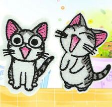 Sweet Twin Cat DIY Embroidery Cloth Iron On Patch Sew Motif Applique x2PC