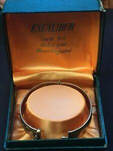 9 Carat Rolled Gold Engraved Hinged Bangle