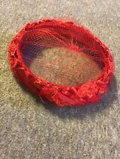 Vintage Red Oval Hat 7� Length W/ Red Lace And Satin Bows