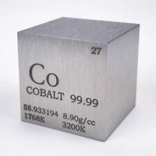 1 inch 25.4mm Cobalt Metal Cube 145g 99.99% Engraved Periodic Table of Elements