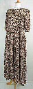Zara Black & Pink Tiered Floral Midi/Maxi Dress Size M / UK 12