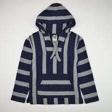 Hang Ten Blanket Jacket Pullover Hoody Striped Blue White Men's Size Small