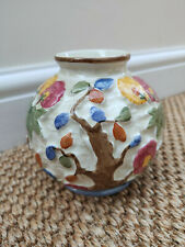 Vintage Indian Tree Vase by H J Wood. Handpainted Round Staffordshire Pot.