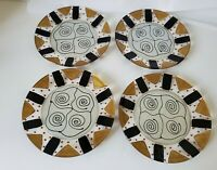 4 Kay Young Signed Art Glass abstract MCM Plates  Hand-Painted dessert Plates
